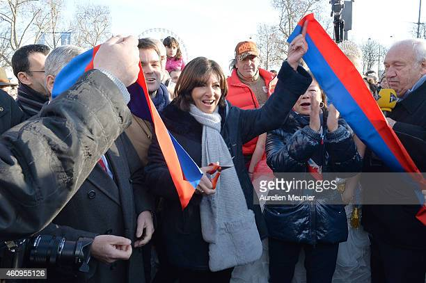 Anne Hidalgo Mayor of Paris attends the New Year's Day Parade held on Avenue des Champs Elysees organised by Marcel Campion's association 'Le Monde...