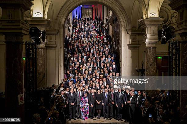 Anne Hidalgo mayor of Paris center and Michael Bloomberg United Nations special envoy for cities and climate change and founder of Bloomberg LP...