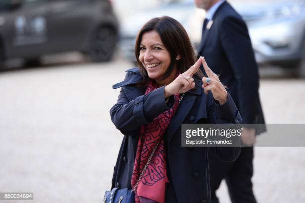 Anne Hidalgo Mayor of Paris during the reception of the CIO by the French President at Elysee Palais on September 15 2017 in Paris France
