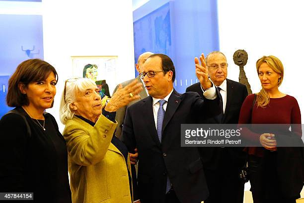 Anne Hidalgo Mayor of Paris Maya Widmaier Picasso daughter of Pablo Picasso French President Francois Hollande and Diana Widmaier Picasso Grand...