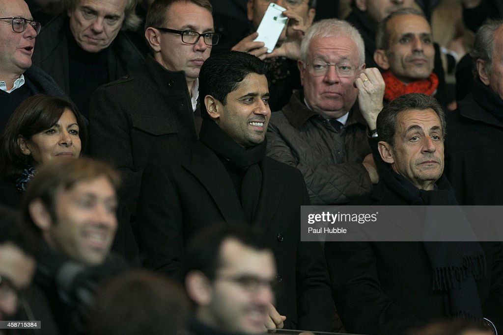 Anne Hidalgo, Nasser Al-Khelaifi and Nicolas Sarkozy attend the Paris Saint Germain vs Olympique de Marseille football match at Parc des Princes on November 9, 2014 in Paris, France.