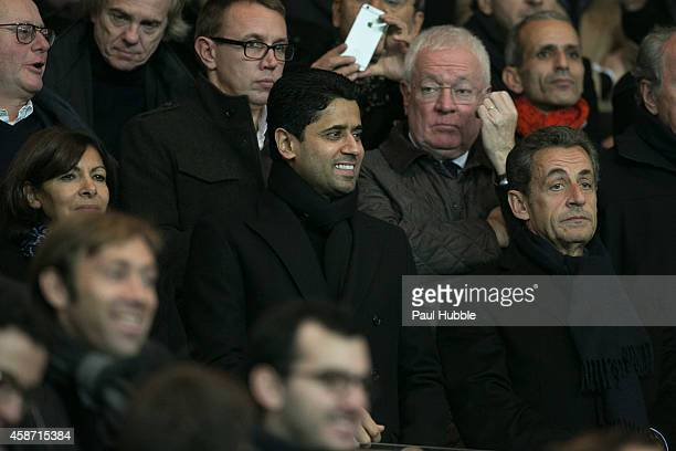 Anne Hidalgo Nasser AlKhelaifi and Nicolas Sarkozy attend the Paris Saint Germain vs Olympique de Marseille football match at Parc des Princes on...