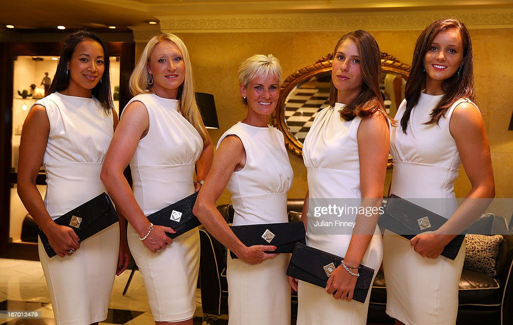 Anne Keothavong Elena Baltacha Judy Murray captain of Great Britain Johanna Konta and Laura Robson of Great Britain pose for a team photo at the Pan...