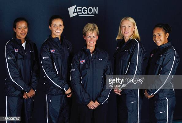 Anne Keothavong Laura Robson Team Captain Judy Murray Elena Baltacha and Heather Watson of the AEGON GB Fed Cup Team pose on January 25 2012 in...