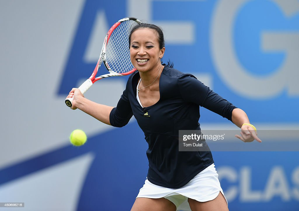 <a gi-track='captionPersonalityLinkClicked' href=/galleries/search?phrase=Anne+Keothavong&family=editorial&specificpeople=226838 ng-click='$event.stopPropagation()'>Anne Keothavong</a> of England takes part in an exhibition match to honour the late Elena Baltacha during Day Seven of the Aegon Classic at Edgbaston Priory Club on June 15, 2014 in Birmingham, England.