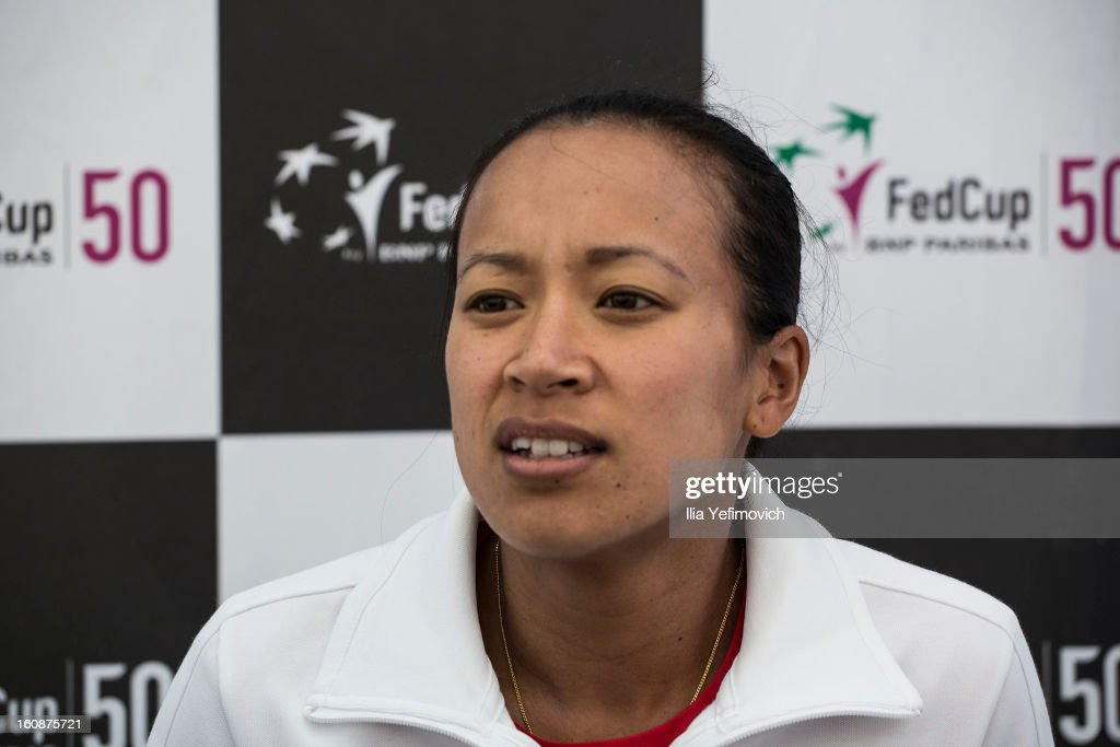 <a gi-track='captionPersonalityLinkClicked' href=/galleries/search?phrase=Anne+Keothavong&family=editorial&specificpeople=226838 ng-click='$event.stopPropagation()'>Anne Keothavong</a> of Great Britain during a press conference after the tie between Great Britain and Bosnia and Herzegovina during the Fed Cup Europe/Africa Group One fixture at the Municipal Tennis Club on February 7, 2013 in Eilat, Israel.