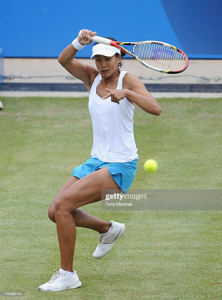 <a gi-track='captionPersonalityLinkClicked' href=/galleries/search?phrase=Anne+Keothavong&family=editorial&specificpeople=226838 ng-click='$event.stopPropagation()'>Anne Keothavong</a> of Great Britain returns a shot from Alison Riske of USA during the first round of The AEGON Classic Tennis Tornament at Edgbaston Priory Club on June 10, 2013 in Birmingham, England.