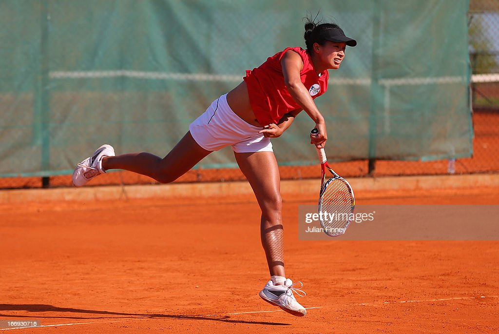 Anne Keothavong of Great Britain serves in a practice session during previews ahead of the Fed Cup World Group Two Play-Offs between Argentina and Great Britain at Parque Roca on April 18, 2013 in Buenos Aires, Argentina.