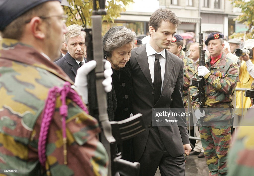 Anne Komozowski and Charles-Henry d'Udekem d'Acoz attend the funeral of Patrick d'Udekem d'Acoz, Princess Mathilde's father, at Saint Pierre Church on September 30, 2008 in Bastogne, Belgium.