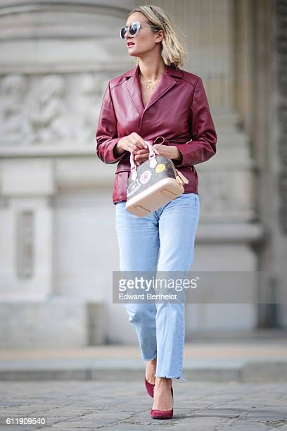 Anne Laure Mais is seen outside the Mugler show during Paris Fashion Week Spring Summer 2017 at the Grand Palais on October 1 2016 in Paris France