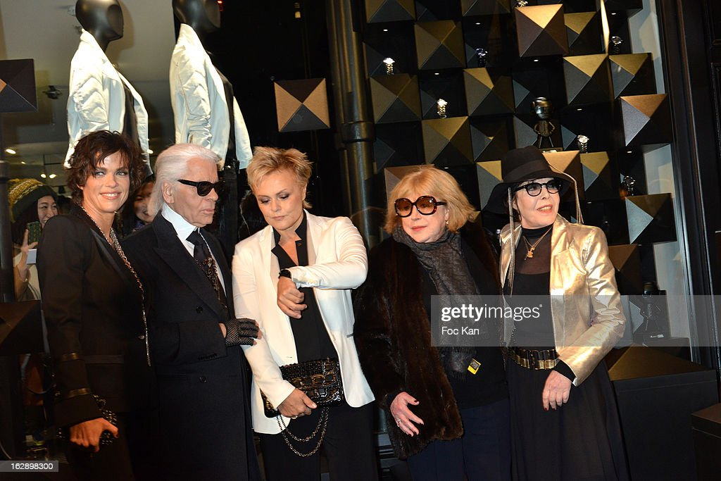 Anne Le Nen, Karl Lagerfeld, Muriel Robin, Marianne Faithful and Dani attend the opening of the Karl Lagerfeld concept store during Paris Fashion Week Fall/Winter 2013 at Karl Lagerfeld Concept Store Saint Germain on February 28; 2013 in Paris; France.