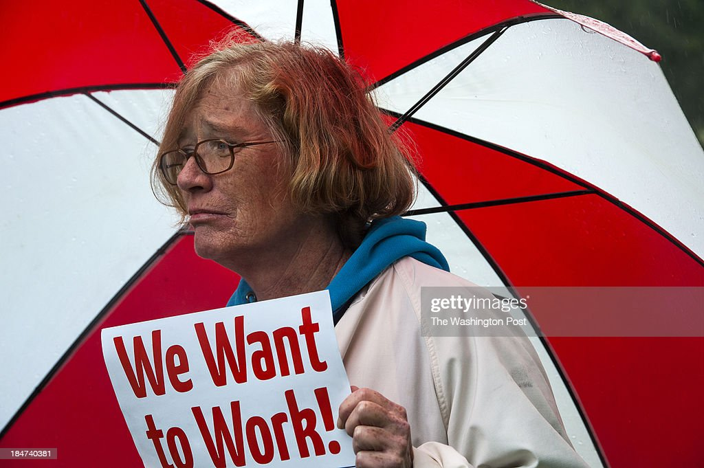 Anne Lucas, 52, who lives in Rockville and works at the Food and Drug Administration, came to the rally at Upper Senate Park near the U.S. Capitol to implore Congress to take a vote and let federal workers and contractors get back to work Thursday October 10, 2013 in Washington, DC.