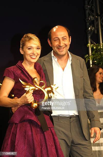 Anne Marivin Golden Swann of the woman revelation in the movie ' Bienvenue chez les Chtis ' with Kad Merad in Cabourg France on June 14th 2008