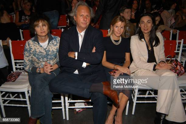 Anne McNally Graydon Carter guest and Anh Duong attend the front row at Diane von Furstenberg Fashion Show at DVF Studios on February 8 2004 in New...
