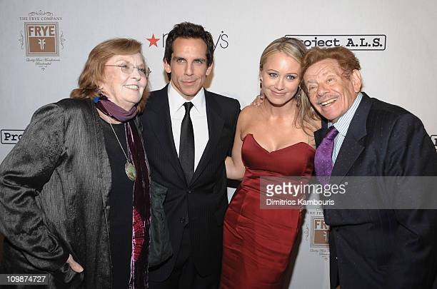 Anne Meara actor Ben Stiller Christine Taylor and Jerry Stiller attend the Project ALS 11th Annual Tomorrow is Tonight Benefit Gala at The Waldorf...