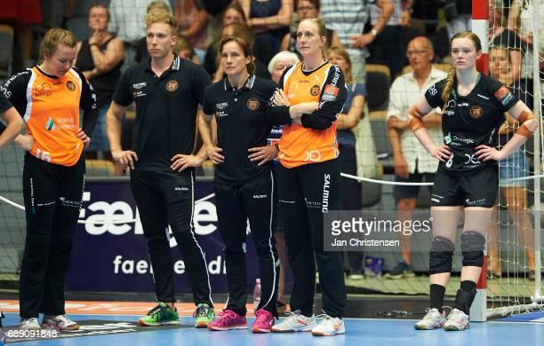 Anne Mette Hansen of Copenhagen Handball and teammates looks dejected after the Primo Tours Ligaen 3 Final match between Nykobing Falster Handbold...