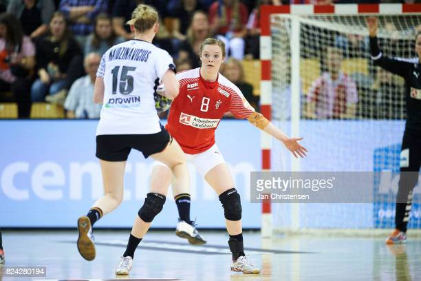 Anne Mette Hansen of Denmark defending during the international friendly match between Denmark and Germany at Ceres Arena on June 08 2017 in Arhus...