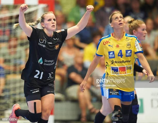 Anne Mette Pedersen of Copenhagen Handball celebrate after goal during the Primo Tours Ligaen 3 Final match between Nykobing Falster Handbold and...
