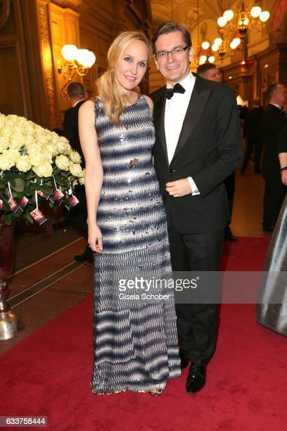 Anne MeyerMinnemann editor in chief of Gala and her husband Claus Strunz during the Semper Opera Ball 2017 at Semperoper on February 3 2017 in...