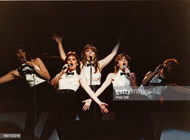 Anne Nolan Coleen Nolan Linda Nolan Bernie Nolan and Maureen Nolan of The Nolans perform on stage at the Dominion Theatre on November 30th 1982 in...