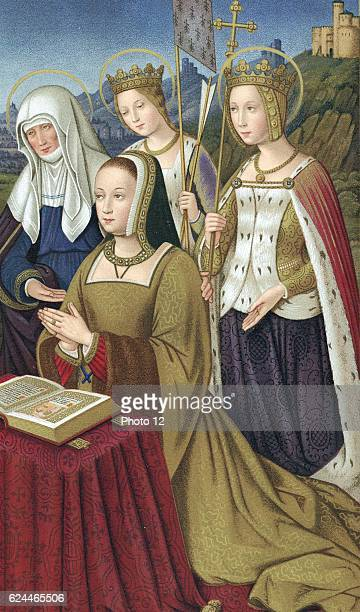 Anne of Brittany Duchess of Brittany 1488 Married Charles VIII of France 1491 then Louis XII 1499 Coloured lithograph of miniature from 'Heures...
