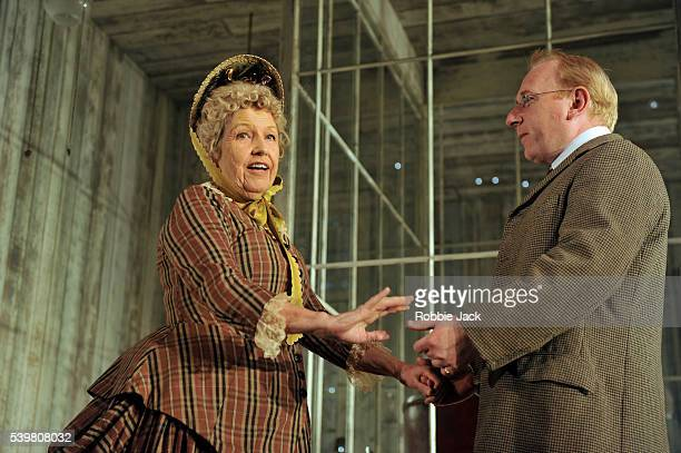 Anne Reid as Juliana Tesman and Adrian Scarborough as George Tesman in Henrik Ibsen's Hedda Gabler directed by Anne Mackmin at the Old Vic in London