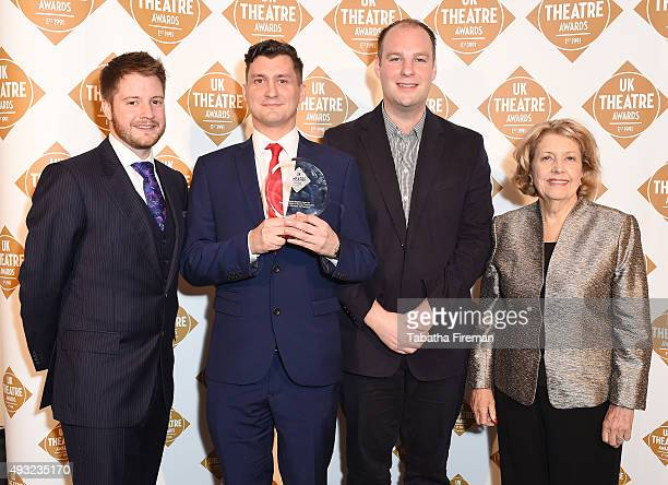 Anne Reid presents James Dacre with The Renee Stepham Award For Best Presentation Of Touring Theatre at the UK National Theatre Awards 2015 at The...