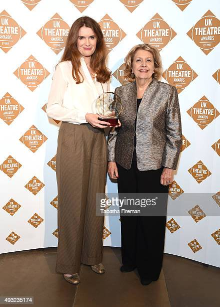 Anne Reid presents Justine Mitchell with the award for Best Supporting Performance for her role in For Services Rendered at the UK Theatre Awards...