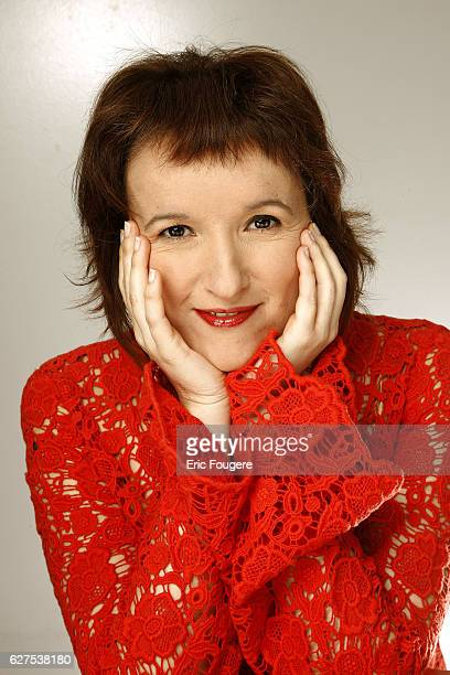 Anne Roumanoff on the set of the TV show 'Les Grands du Rire'