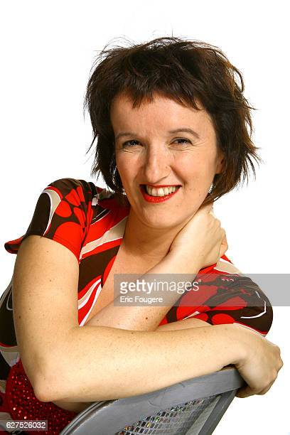 Anne Roumanoff on the set of TV show 'On en Parle a Paris'