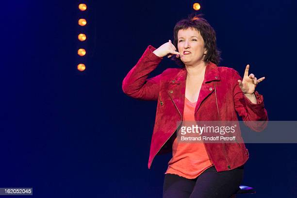 Anne Roumanoff performs during the 3rd edition of the 'Europe 1 fait Bobino' show at Bobino on February 18 2013 in Paris France