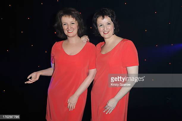 Anne Roumanoff poses with her waxwork self during the unveiling at Musee Grevin on June 10 2013 in Paris France