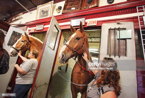 Anne Samowitz right of Scarborough pets Jim a Belgian horse owned by Sonny Richards of Windham while visiting the Portland Fire Museum Anne is a...