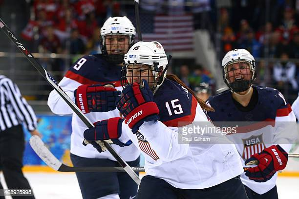 Anne Schleper of the United States celebrates after setting up Hilary Knight to score a goal in the second period against Canada during the Women's...
