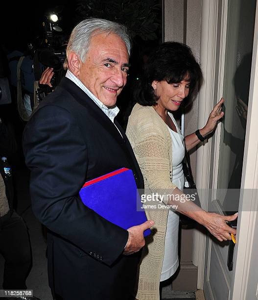 Anne Sinclair and Dominique StraussKahn arrive at their temporary residence on July 5 2011 in New York City