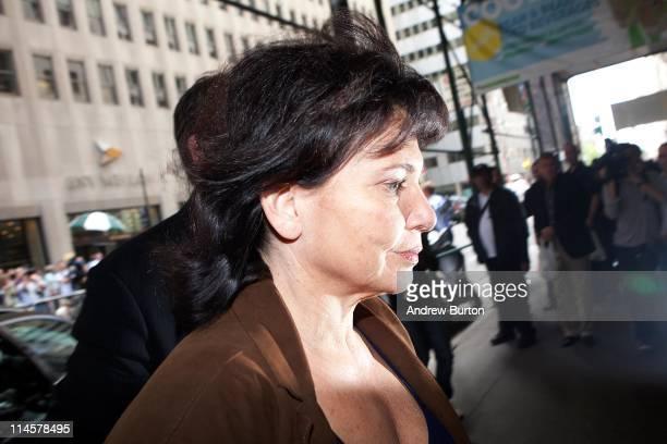 Anne Sinclair wife of former International Monetary Fund chief Dominique StraussKahn enters 71 Broadway where StraussKahn is under house arrest under...