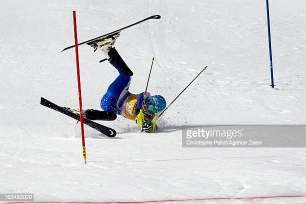Anne Sophie Barthet of France competes during the Audi FIS Alpine Ski World Cup Women's Slalom on March 10 2013 in Ofterschwang Germany