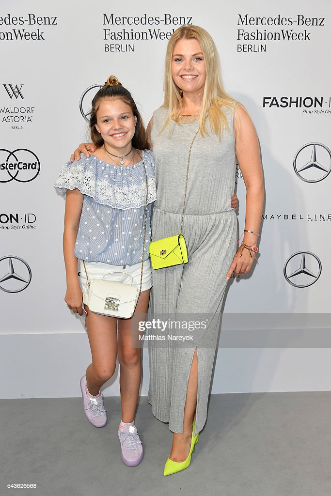 Anne Sophie Briest (R) and her daughter Faye Montana attend the Guido Maria Kretschmer show during the Mercedes-Benz Fashion Week Berlin Spring/Summer 2017 at Erika Hess Eisstadion on June 29, 2016 in Berlin, Germany.