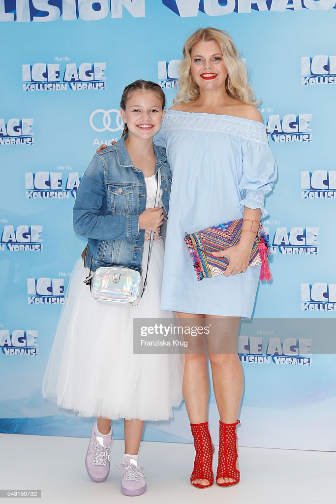 Anne Sophie Briest and her dougther Faye Montana Briest attend the 'Ice Age - Kollision Voraus' German Premiere at CineStar on June 26, 2016 in Berlin, Germany.