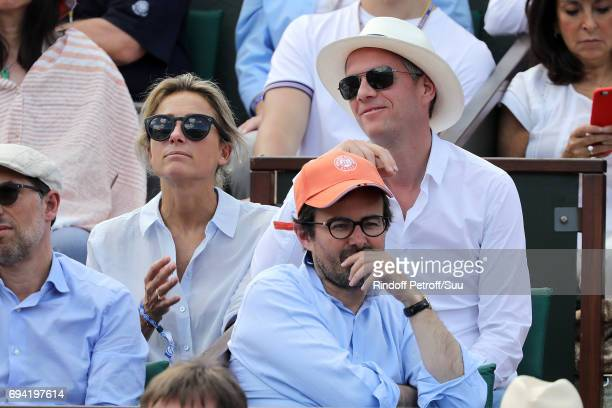 Anne Sophie Lapix and Arthur Sadoun are spotted at Roland Garros on June 9 2017 in Paris France