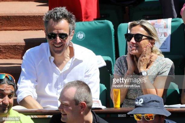 Anne Sophie Lapix and Arthur Sadoun are spotted at Roland Garros on June 10 2017 in Paris France
