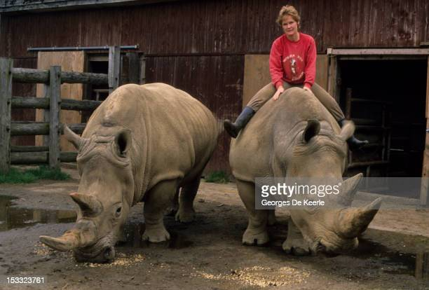 Anne Stewart poses with two white rhinoceros at an animal farm in Bedfordshire on May 11 1988 Anne is among the leaders of the fight to protect the...