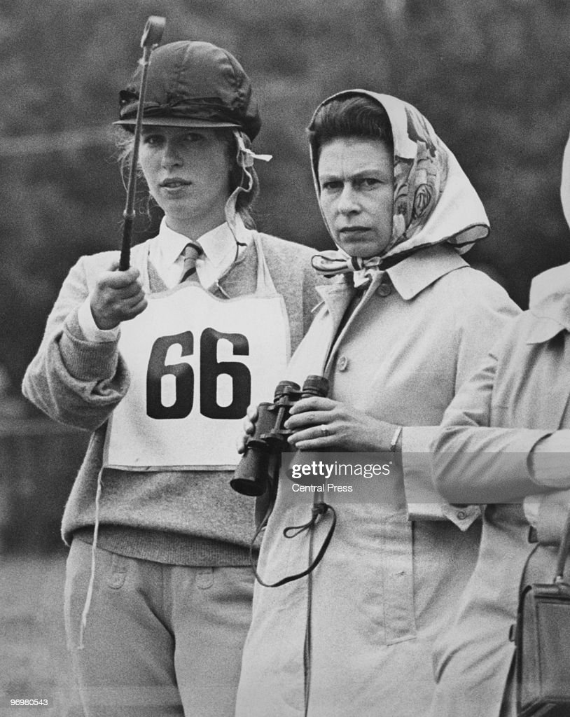 Anne, the Princess Royal, with her mother Queen <a gi-track='captionPersonalityLinkClicked' href=/galleries/search?phrase=Elizabeth+II&family=editorial&specificpeople=67226 ng-click='$event.stopPropagation()'>Elizabeth II</a> during the Eridge Horse Trials, East Sussex, 3rd August 1968.