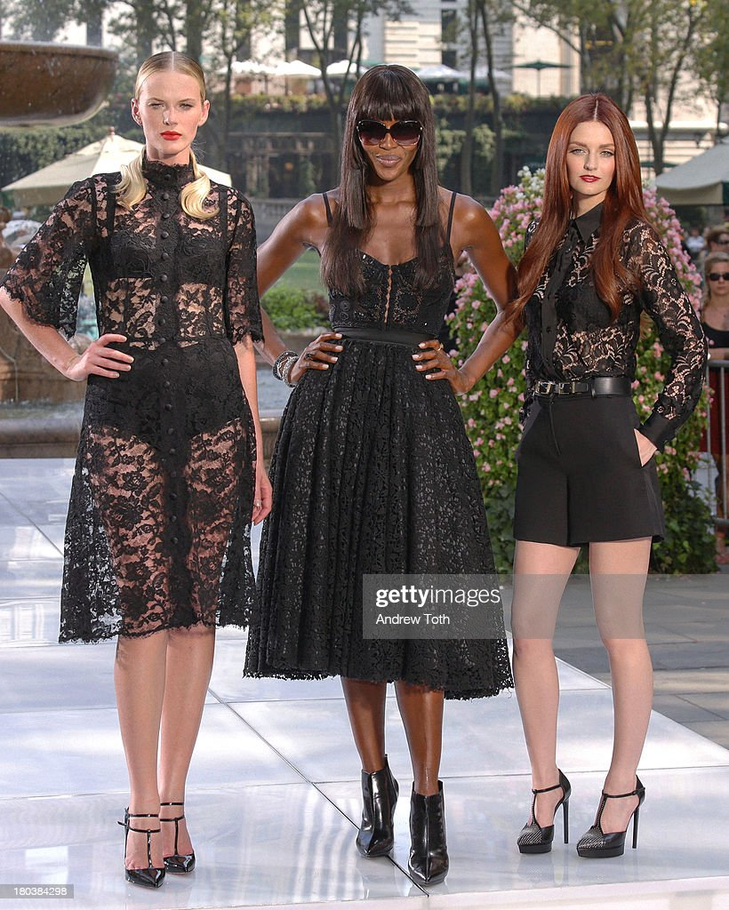 Anne V (<a gi-track='captionPersonalityLinkClicked' href=/galleries/search?phrase=Anne+Vyalitsyna&family=editorial&specificpeople=2371862 ng-click='$event.stopPropagation()'>Anne Vyalitsyna</a>), <a gi-track='captionPersonalityLinkClicked' href=/galleries/search?phrase=Naomi+Campbell&family=editorial&specificpeople=171722 ng-click='$event.stopPropagation()'>Naomi Campbell</a> and <a gi-track='captionPersonalityLinkClicked' href=/galleries/search?phrase=Lydia+Hearst&family=editorial&specificpeople=221723 ng-click='$event.stopPropagation()'>Lydia Hearst</a> pose on the runway during the 'The Face' Season 2 Pop Up Fashion Show at Bryant Park on September 11, 2013 in New York City.