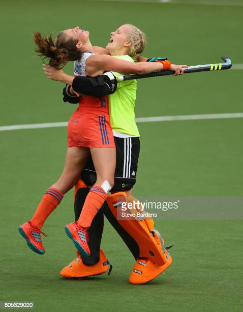 Anne Veenendaal and Xan de Waard of the Netherlands celebrate their victory over New Zealand after a penalty shoot out during the Fintro Hockey World...