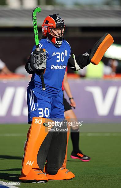 Anne Veenendaal of the Netherlands in action against New Zeland during Day 2 of the Hockey World League Final Rosario 2015 at El Estadio Mundialista...
