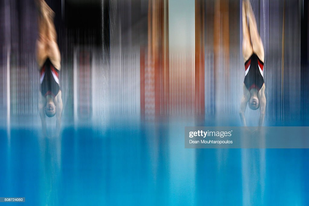 Anne Vilde Tuxen and Helle Tuxen of Norway compete in the Synchronised women 3m springboard competition during the Senet Diving Cup held at Pieter van den Hoogenband Swimming Stadium on February 6, 2016 in Eindhoven, Netherlands.