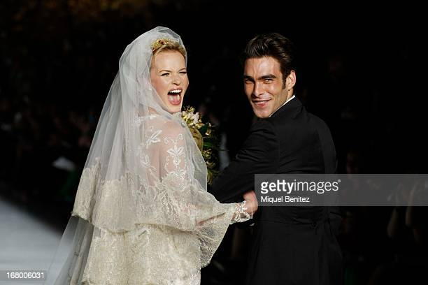 Anne Vyalitsyna and Jon Kortajarena walk the runway for the Pronovias bridal fashion show during Barcelona Bridal Week 2013 on May 3 2013 in...