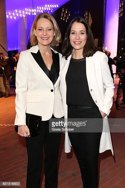 Anne Will and her wife Miriam Meckel during the opening concert of the Elbphilharmonie concert hall on January 11 2017 in Hamburg Germany