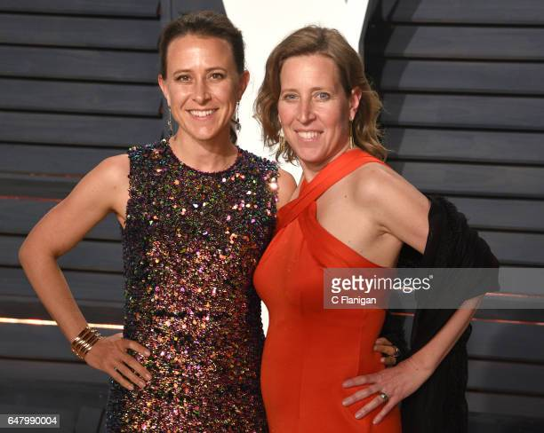 Anne Wojcicki and Susan Wojcicki attend the 2017 Vanity Fair Oscar Party hosted by Graydon Carter at Wallis Annenberg Center for the Performing Arts...